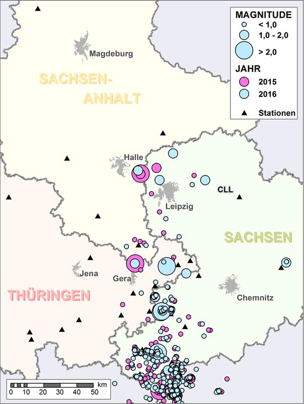 Abbildung der Erdbeben für die Jahre 2015 und 2016 mit Darstellung der Intensität im Epizentrum des Ereignisses