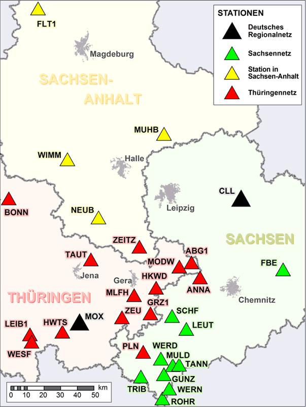 """Abbildung der Stationen der seismologischen Überwachung in Sachsen-Anhalt im """"Seismologie-Verbund"""""""