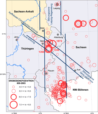 Abbildung Erdbebenkatalog für die Bundesrepublik Deutschland mit Randgebieten für die Jahre 800 bis 2003