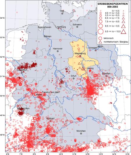 Abbildung Karte der Erdbebenepizentren