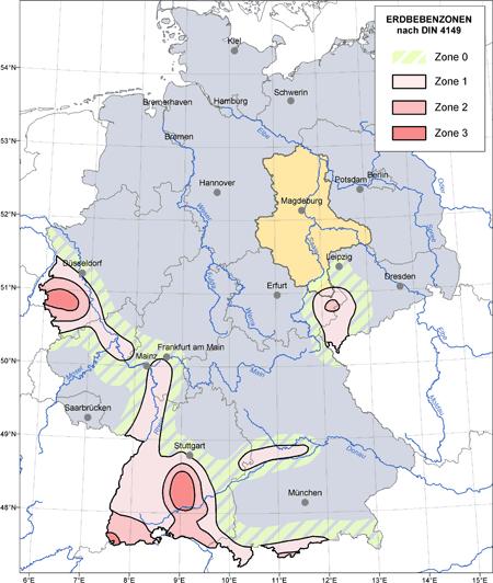 Abbildung der Erbebenzonen der Bundesrepublik Deutschland nach DIN 4149 mit Hervorhebung des Einflussbereiches in Sachsen-Anhalt