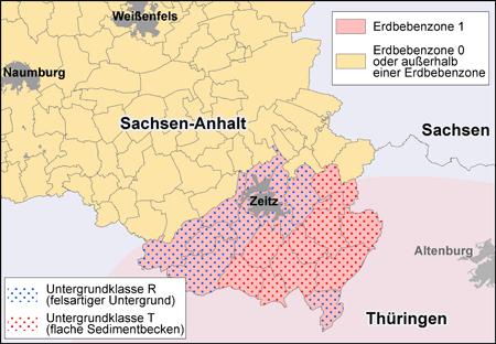 Abbildung der Erdbebenzonen und geologische Untergrundklassen in Sachsen-Anhalt für den Südraum des Landes