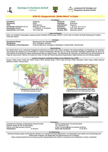 Abbildung eines Geotop-Steckbriefes aus dem Geotopkataster Sachsen-Anhalt