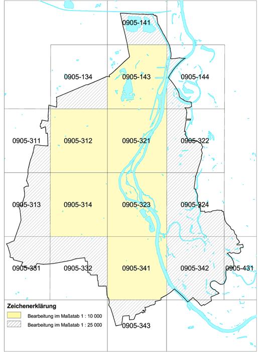 Abbildung einer Übersicht zur Blatteinteilung der Ingenieurgeologischen Stadtkartierung Magdeburg mit Bearbeitung im Maßstab 1 : 10000 und 1: 25000